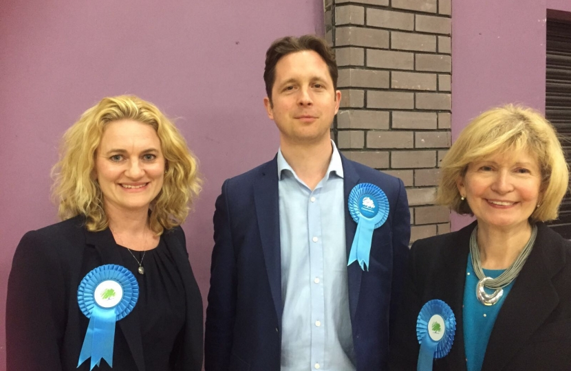 New County Councillor Louise McKinlay and Lesley Wagland with Brentwood and Ongar's Parliamentary Candidate, Alex Burghart